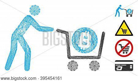 Vector Wire Frame Bitcoin Purchase Cart. Geometric Wire Frame Flat Net Based On Bitcoin Purchase Car