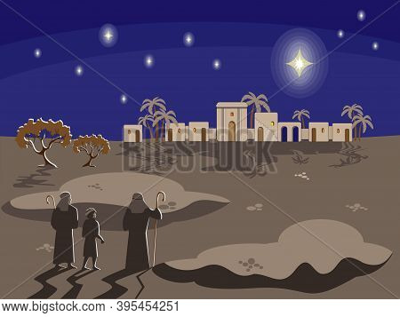 Christmas Biblical Scene With Shepherds Standing In Historical Costumes At Night And Looking At A St
