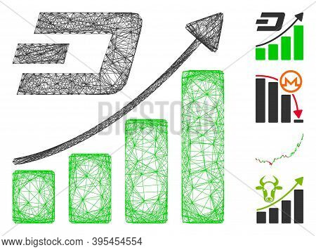 Vector Wire Frame Dash Growth Trend. Geometric Wire Frame 2d Net Made From Dash Growth Trend Icon, D