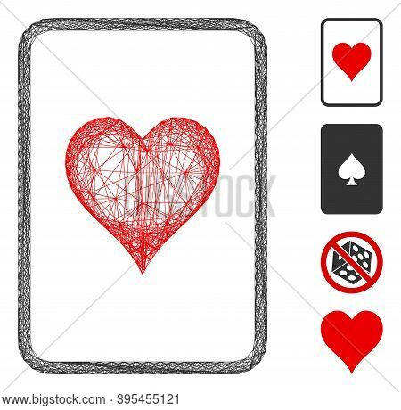 Vector Wire Frame Hearts Gambling Card. Geometric Wire Frame Flat Net Made From Hearts Gambling Card