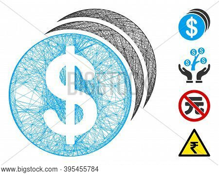Vector Wire Frame Dollar Coins. Geometric Wire Frame Flat Network Made From Dollar Coins Icon, Desig