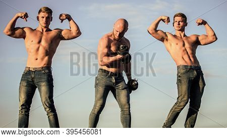 More Strength More Muscle. Body Uses Protein To Build New Muscle. Strong Men Blue Sky Background. Gr
