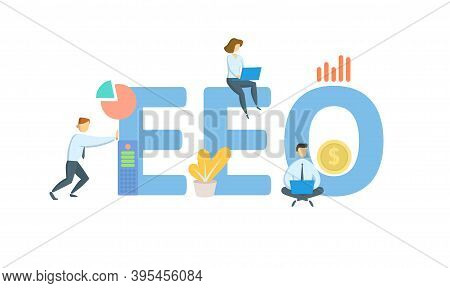 Eeo, Equal Employment Opportunity. Concept With Keywords, People And Icons. Flat Vector Illustration