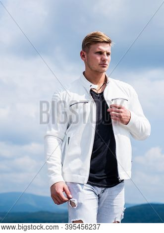 Handsome Young Man In Casual Fashion Wear Travel Natural Landscape Idyllic Cloudy Sky Outdoors, Wand