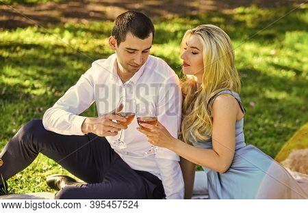 Together Forever. True Love. Cute Couple Drinking Wine. Romance Concept. Toast. Celebrate Anniversar