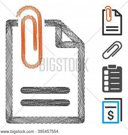 Vector Network Attach Document. Geometric Linear Frame Flat Network Made From Attach Document Icon,