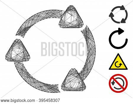 Vector Net Rotate Cw. Geometric Wire Carcass 2d Net Made From Rotate Cw Icon, Designed From Crossed