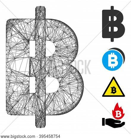 Vector Net Thai Baht. Geometric Hatched Carcass 2d Net Generated With Thai Baht Icon, Designed With