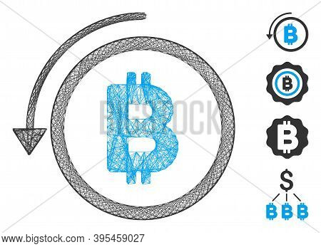 Vector Network Undo Bitcoin Payment. Geometric Wire Frame 2d Network Made From Undo Bitcoin Payment