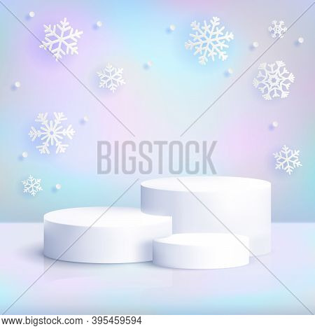 Realistic White Podium On Iridescent Background With Snowflakes. Winter Christmas Pastel Scene With