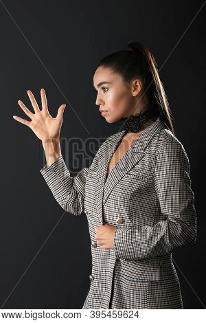 Emotional  Girl Raised Her Hand. Trying To Find Balance. Prove Your Case In Any Way.