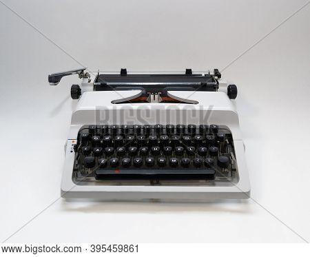 Typewriter 70s With Red Printed Ribbon Close Up