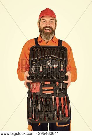 Professional Equipment. Dream Of Handyman. Screwdrivers Set. Man Carries Toolbox White Background. W