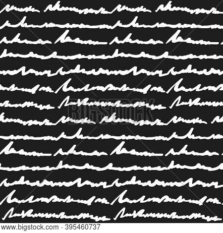 Seamless Pattern With White Hand Written Fake Text On Black Background. Contrast Texture With Cursiv