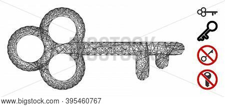 Vector Wire Frame Secret Key. Geometric Wire Frame 2d Net Made From Secret Key Icon, Designed With C