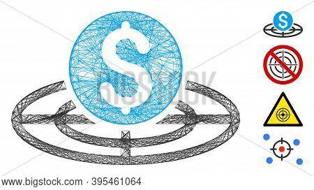 Vector Net Money Crosshair. Geometric Hatched Frame Flat Net Generated With Money Crosshair Icon, De