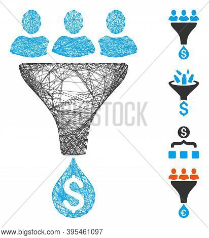 Vector Wire Frame Sales Funnel. Geometric Wire Carcass Flat Net Made From Sales Funnel Icon, Designe