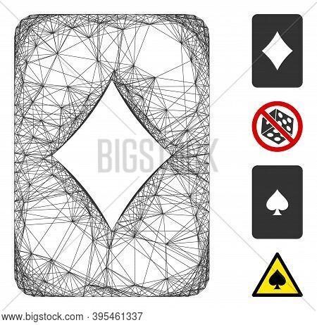 Vector Network Diamonds Gambling Card. Geometric Linear Carcass 2d Network Made From Diamonds Gambli