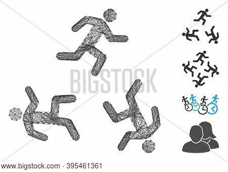Vector Net Running Men Circulation. Geometric Linear Frame Flat Net Made From Running Men Circulatio