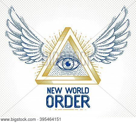 All Seeing Eye Of God In Sacred Geometry Triangle With Bird Wings Of Falcon Or Angel, Masonry And Il