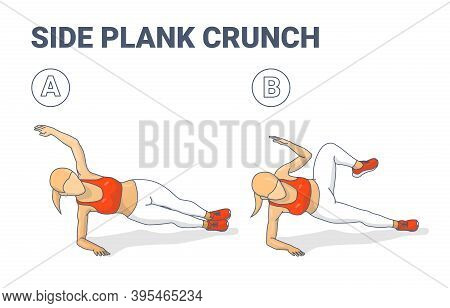 Side Plank Crunch Home Workout Exercise Girl Silhouette Colorful Concept Illustration