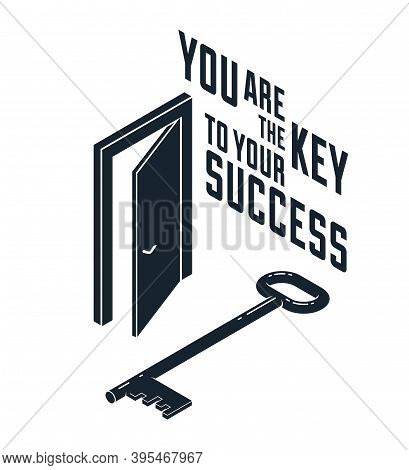 The Key To Success Vector Conceptual Illustration With Half Open Door And Key, New Opportunities, Se