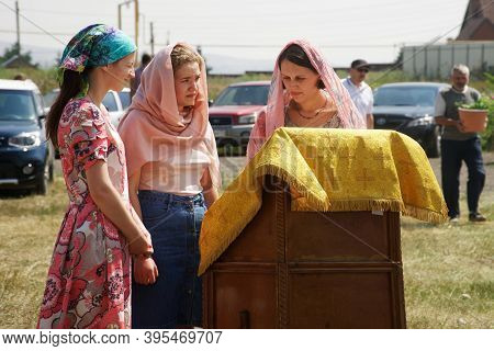 July 11, 2020, Russia, Magnitogorsk. Pretty Young Women In The Church Choir Prepare To Sing A Religi