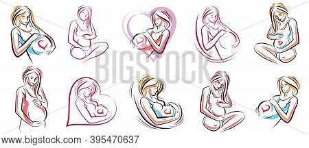 Pregnancy And Motherhood Theme Vector Illustrations Set Pregnant Woman Drawings Isolated On White Ba