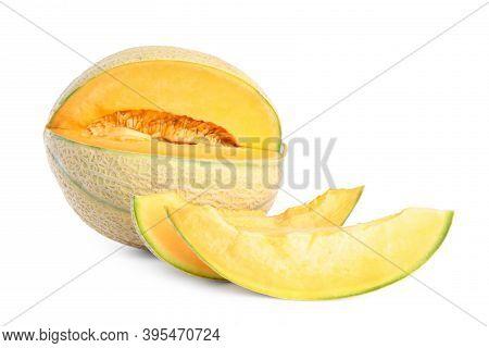 Tasty Fresh Cut Melon Isolated On White