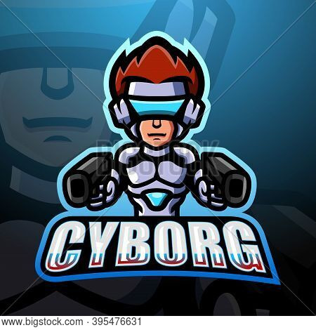 Vector Illustration Of Cyborg Mascot Esport Logo Design