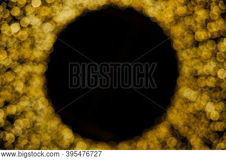 Christmas Lights Abstract Golden Lamps Unfocused Bokeh Concept Circle Shape With Black Background Sp