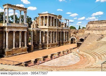 The Roman Theatre Of Merida, Unesco World Heritage In Spain