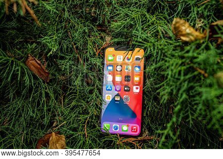 Paris, France - Nov 11, 2020: Apple Computers Background The New Iphone 12 Pro Smartphone With All A