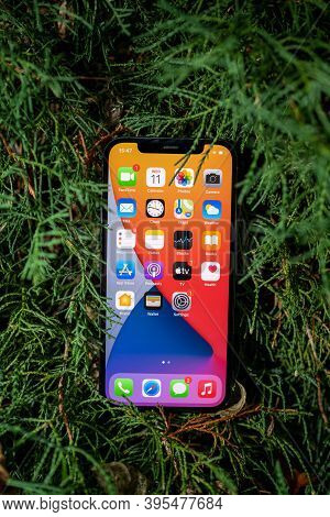 Paris, France - Nov 11, 2020: New Apple Computers Iphone 12 Pro Smartphone With All Apps On Screen W