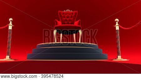 3d Render Of Red Royal Chair. Red Carpet Leading To The Luxurious Throne, Place For The King. Royal