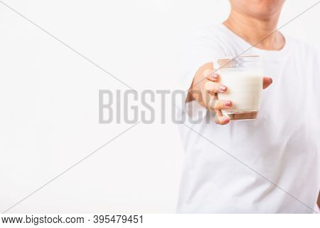 Asian Portrait Of Happy Young Asian Beauty Woman Use Hands Hold Drink White Milk From A Glass, Studi