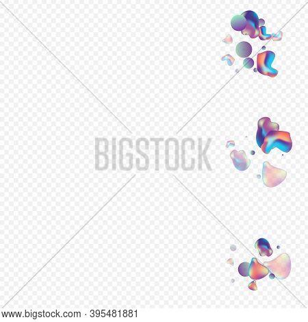 Hologram Liquid Modern Vector Transparent Background. Shape Holography Illustration. Iridescent Grad