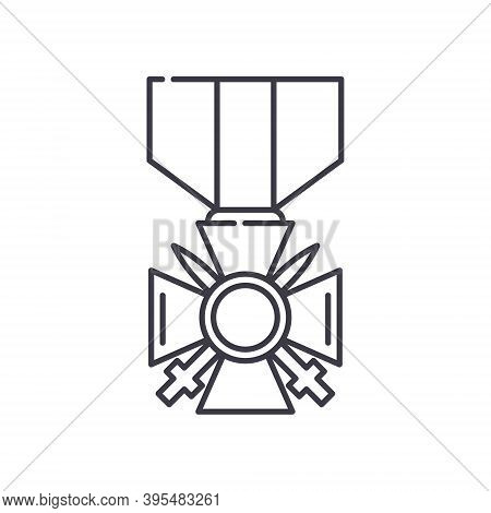 Valor Medal Icon, Linear Isolated Illustration, Thin Line Vector, Web Design Sign, Outline Concept S