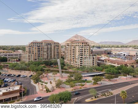 Scottsdale road, Old Town area with shopping malls, bars and restaurants, high end luxury condo's and clubs.