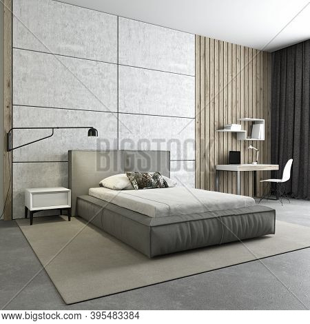 Bedroom-loft For A Teenager. 3d Rendering. Gray Bed In The Interior. Workplace In The Bedroom. Concr
