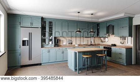 Kitchen In A Modern Style With A Light Worktop With Sink, Stove, Oven, Kitchen Utensils. There Are G