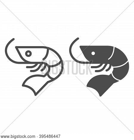 Shrimp Line And Solid Icon, Fish Market Concept, Seafood Sign On White Background, Shrimp Icon In Ou