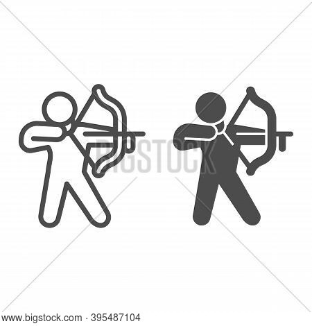 Archer Line And Solid Icon, Self Defense Concept, Man With Bow And Arrow Sign On White Background, W