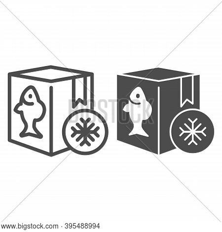 Frozen Fish In Box Line And Solid Icon, Fishing Concept, Refrigerator Container For Seafood Sign On