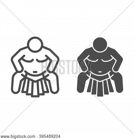 Sumo Sportsman Line And Solid Icon, Self Defense Concept, Sumo Wrestling Sign On White Background, M