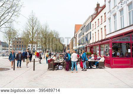 BRUGES, BELGIUM - April 13, 2018: Street view of downtown in Bruges, Belgium