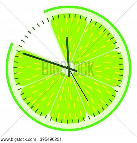 Dial Of Wall Clock, Stylized As Lemon Slice. Watch Dial, Design Element. Vector