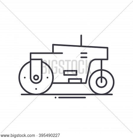 Steamroller Icon, Linear Isolated Illustration, Thin Line Vector, Web Design Sign, Outline Concept S