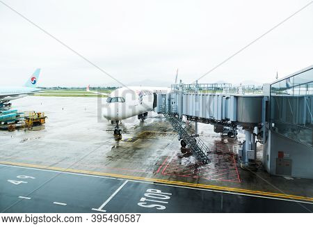 Hanoi,vietnam 24 Oct 2019- View Of An Airplane From Latam Airlines In A Rainy Day At The Hanoi Inter