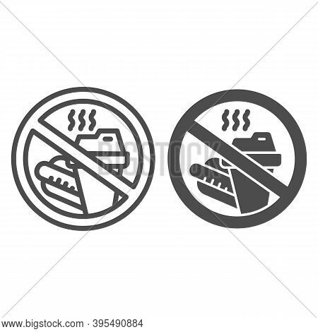 Prohibition Bring Food Line And Solid Icon, Aquapark Concept, Do Not Bring Food Into The Area Sign O